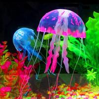 réservoir de méduses artificielles achat en gros de-2017 nouveau Glowing Artificial Vivid Jellyfish Silicone Fish Tank Décor Aquarium Décoration Ornement 3 mois de garantie