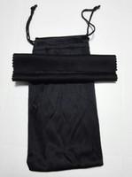 bez güneş gözlüğü kılıfı toptan satış-Sunglasse siyah temizleme bezi kılıfı yumuşak gözlükler çanta gözlük durumda kadın ve erkek güneş gözlüğü çanta + bez freeshipping 20 adet / grup 17.5 * 9 cm