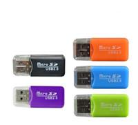 telefones mais pequenos da china venda por atacado-Leitor de cartão de memória do telefone móvel leitor de cartão de alta velocidade Mini TF pequeno multi-purpose de alta velocidade USB adaptador de leitor de cartão SD colorido