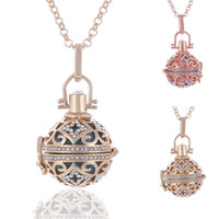 Wholesale Gold Color Locket - 2017 Hot Ball Harmony Necklaces Round Hollow Heart Pendant Chains Copper Metal Maternity Angel Ball Pendant Jewelry With Chains 3 Color