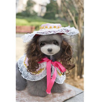 Wholesale Pet Photography - Pageant Princess Dog Elegant Lace Printing Cloak with Queen Cap Cute Dog Photography Costume New Lovely Pet Puppy Sets