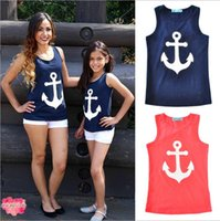 Wholesale Baby Girl Anchor Clothing - 2017 Matching Mother Daughter clothes Babies Anchor Bow T-shirts Mother Fashion Casual Jumper Tees Babies Summer Family clothing