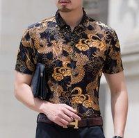 Wholesale Mens Casual Slim Dragon - Mens Dragon Print Design Silk Shirts Men Casual Short Sleeve Transparent Sexy Slim Velvet Shirt Soft Thin Comfortable