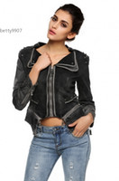Wholesale Jeans Tuxedo Coat Blazer Jacket - Hot fashion denim jackets women clothes Sharp Power Studded Shoulder Notched Lapel Jeans Tuxedo Coat Blazer Ladies Clothing
