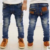 Wholesale Hot Kids Panties - Newest Baby Boys Jean Clothes Kids Casual Jeans Pants Children Long Trouser Panties Cotton Leggings Pocket Zipper Hot Sale 5 7 9