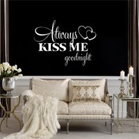 Wholesale Posters Kiss - sticker Love Quotes Stickers Always Kiss Me Goodnight wallpaper sweet Kids Room Wall Poster Home Bedroom Decoration accessories