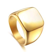 Wholesale Smooth Men Titanium Ring - Titanium Business Ring for Men Blank Fashion Cool Men's Stainless steel 18K Gold Plated Smooth Surface Square Single Rings
