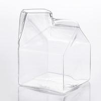Wholesale Glass Jugs - Breakfast Brief Mug Milk Box Glass Cup Fashion Milk Jug Heat Resistant Glass Creative Juice Milk Container Cup Factory Direct Sale
