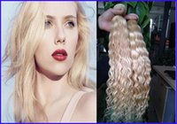 Wholesale Bleaching Machine - #613 Bleach Blonde curly human hair brazilian hair 2PCS LOT kinky curly virgin brazilian wave hair weaves,Double drawn,No shedding,ta