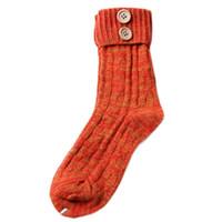 Wholesale Ladies Cashmere Socks - Wholesale- Stylish 2015 Winter 1Pair Orange Women Knitted Cashmere Retro style Elastic Flanging Button Keep Warm Socks for lady girls gift