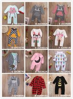 Wholesale French Girls Clothes - Fashion Jumpsuit Baby Romper Cotton Pajamas Christmas Bodysuit Plaid Crown Striped Pink Red Boy Girl Kid Clothing Outfits 0-24M Toddler Suit