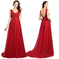 Wholesale 2017 Red Evening Dresses Cheap Plus Size Burgundy Prom Dresses V neck Backless Zipper Back Tulle Lace Floor length A line Sexy Evening Gowns