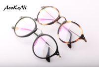Wholesale Mens Eyeglasses Fashion - AOOKONI Fashion Luxury Brand Designer Eyeglasses Mens Womens New Quality glasses frame Round Black tortoise Frame Glasses Eyewear 49mm
