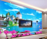 painting house siding - 3d wallpaper custom photo mural Scenery of the villa on the sea side decoration painting d wall murals wallpaper for walls d living room