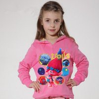 Wholesale Youth Hoodies Wholesale - 2016 Winter Kids Good Luck Trolls Long Sleeve Tees Clothing Children T Shirts Cotton Youth Girls Hoodies Clothes