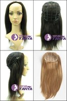 Wholesale Half Head Straight Wigs - ZZHAIR 100% Brazilian Remy Human Hair Glueless Half head 3 4 Wig Holiday Cosplay Wigs all colors in stock