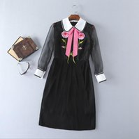 Wholesale Doll Collar Dress Black - The new Europe and the United States women's 2017 spring Doll collar embroidery stitching pleated dress