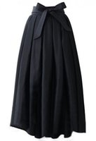 Wholesale Womens Plus Denim Skirt - Runaway Maxi Skirts Womens Vintage 2017 Autumn Ball Gown Solid Black Blue Party A-line Pleated Long Skirt XXXL Plus Size Pockets