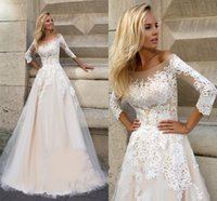Wholesale Illusion Wedding Dress Fall - Oksana Mukha 2016 Fall Winter Wedding Dresses A-Line Off-Shoulder Illusion Bodice Long Sleeves Sweep Train Wedding Party 2017 Bridal Gowns