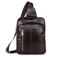sacos mensageiro homens marrom venda por atacado-A +++ Grau Chest Bags para Homens Crossbody Messenger Bags Casual Homem Genuine Leather Chest Pack Mens Único Saco de Ombro para Homens Bolsas Brown