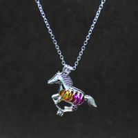 Wholesale Cycling Pendant - Silver cute horse pendant can open cage necklace jewelry making personalized cycling men's fashion jewelry gifts 2018