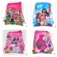 Wholesale Ship School Backpacks - Drawstring Bags Trolls Moana Cartoon Non Woven Sling Bag Kids Backpacks School Bags Girls Party Gift Bag Birthday DHL Free Shipping