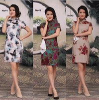 Wholesale Traditional Oriental Dress - High Grade Vintage Retro Cheongsam Floral Linen Cheongsam Qipao Short Sleeve Chinese Traditional Clothing Oriental Evening Dresses