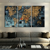 Wholesale Three Panel Wall Map Art - Large Canvas Prints Modern wall art The Abstract World Map Painting On Canvas Home Decor Painting For Living Room