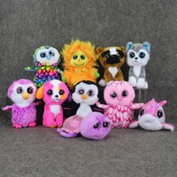 Wholesale Cute Animals Big Eyes - Wholesale-Cute New Animals Beanie Boos Big Eyes Plush Toys Dolls Husky Dog Lion Cat Owl dolphin Penguin Monkey Baby Kids Gifts Doll 15 cm