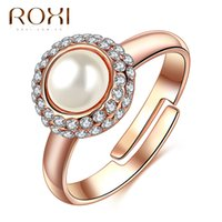 Wholesale Rose Cabochon White - ROXI Brand Cabochon Beads Inlaid Zircon Ring for Women Sliver and Rose Gold Plated Pearl Jewelry Ring Charm Bijouterie As Gift