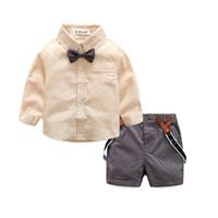Wholesale Toddler Pink Blouse - wholesale 2016 kids boys gentleman clothes baby 2 pieces clothing toddler autumn sets children blouse shorts suit for 70-95