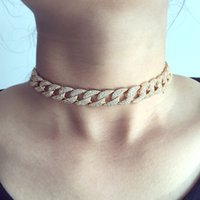 Wholesale Gray Statement Necklace - Fashion Jewelry Necklace white gold-color Statement Cuban Link Chain Choker Necklace adjust Women Wedding Bijoux Wholesale free shipping