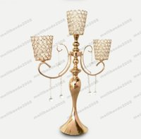 Wholesale Candlelight Wedding Decorations - NEW 3 Head H70CM Gold Plated Crystal Candelabras Metal Candle Holder For Wedding Centerpiece Decoration Candlelight H 70cm free shipping MYY