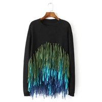 Wholesale Black Fringe Ribbon - Ladies Black Tassel Sweaters and Pullovers for Women Long Sleeve Pull Femme Knitted Fringe Jumpers White Knitwear Tops Clothing