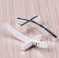 Wholesale Side Cross Silver Connector - Wholesale Black Crystal Curved Side Ways Silver Plated Cross Charms For Bracelet Connector