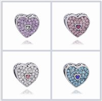Wholesale double heart necklace diamond - Fits Pandora Bracelets 10pcs Double Faceted CrystalHeart Diamond Charm Bead Loose Beads For Wholesale Diy European Sterling Necklace Jewelry