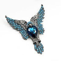 Discount eagle pins New Fashion Personality Blue Color Crystal Rhinestone Brooch High Quality Luxury Eagle Brooches Pin Jewelry for Women