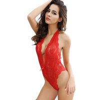 Wholesale Sexy Netted Lingerie - Feitong 2016 Fashion Sexy Sleepwear Nightwear Lace Neck Fishnet Body Stocking Sexy Lingerie Hot Nets Clothings Sex Costumes Mesh