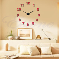 Atacado-Para 11.11 Classics Digital DIY 3D Metal Face EVA Número Wall Clocks Decor Home Luxo A13288