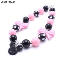MHS.SUN Lovely Mikey Kid Chunky Collier Cartoon Pendant Toddlers Girls Bubblegum Bead Chunky Collier Bijoux Cadeau pour enfants