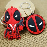 logo carabiner 2018 - Hero X-Men Deadpool Logo PVC Keychain Fashion Metal Pendant Key Chain (10pcs Lot   Size:5.5-8cm)