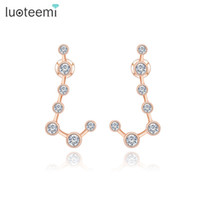 Wholesale Earring Cz Round - LUOTEEMI New Korean Fashion New Stud Earrings Seven Round CZ Simple Brincos For Women Wedding Jewelry Rose&White Gold-Color