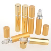 Wholesale 8ml Roll Perfume Bottles - 8ml empty gold roll on container roller on perfumes bottles essential oil bottle with stainless steel ball F2017898