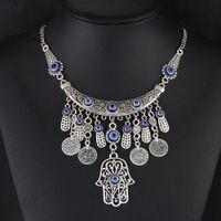 Wholesale Europe Style Fashion Pendant Necklace - Europe and the big Silver Pendant Necklace hand retro fashion necklace metal coins of Fatima all-match folk style