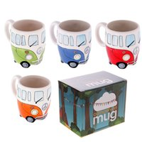 Wholesale Bus Gift Boxes - Wholesale- Free Shipping 1Piece Camper Van Adventures Ceramic Coffee Cup Retro Bus Mug Hippie Coffee Mug With Gift Box