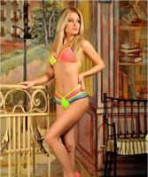 hermosos bikinis al por mayor-Mujer HotSexy Neon Colorful Bandage tanga hermoso traje de baño bikini brasileño conjunto Halter lacing push up traje de baño traje de baño