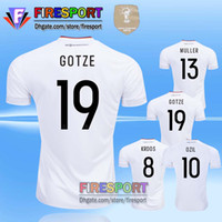 Wholesale Germany Home Soccer Jersey - 2017 TOP QUALITY Germany OZIL MULLER GOTZE HUMMELS KROOS BOATENG REUS 17 18 SOCCER JERSEY Maillot de foot thai Home White Football Shirts