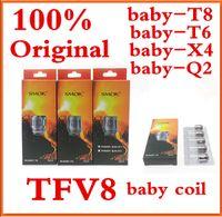 Wholesale Smok Coils - 100% Authentic Smok TFV8 BABY Beast Tank Coils Head V8 Baby-T8 0.15ohm T6 0.2ohm X4 0.15ohm Q2 0.4ohm DHL.