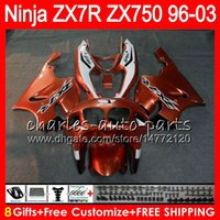 Wholesale Zx 7r - 8Gifts 23Colors For KAWASAKI NINJA ZX7R 96 97 98 99 00 01 02 03 18NO32 gloss Orange ZX750 ZX 7R ZX-7R 1996 1997 1998 2001 2002 2003 Fairing