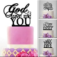 Wholesale Unique Birthday Cakes - Top quality customized unique Letter cake topper for wedding birthday party personalised black acrylic number cake toppers